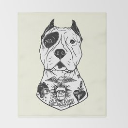 American Pitbull Tattooed Throw Blanket