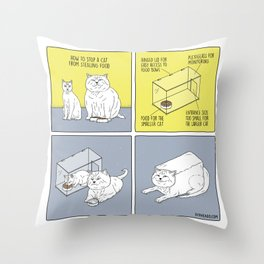 How to Stop a Cat from Stealing Food Throw Pillow