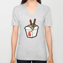 Take-Out Noodles Box Pattern Unisex V-Neck