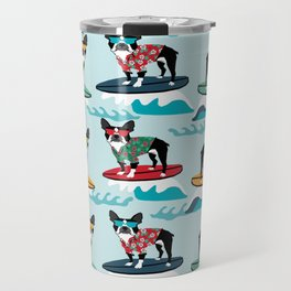 Boston Terrier surfing pattern cute pet gifts dog lovers boston terriers Travel Mug