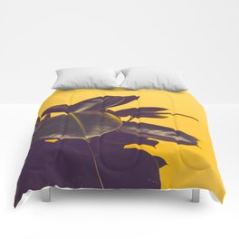 Mid Century Modern Yellow Background Color Pop Minimalist Plant Leaves Comforters