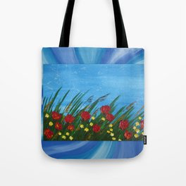 poppies poppy wildflowers red field grass flowers palette knife design designs poppys Tote Bag