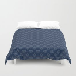 Hand painted navy blue Christmas snow flakes motif Duvet Cover