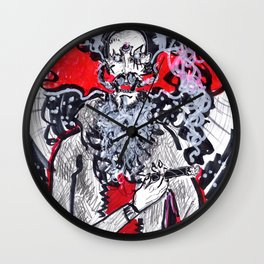 Red Smoke 3 Wall Clock
