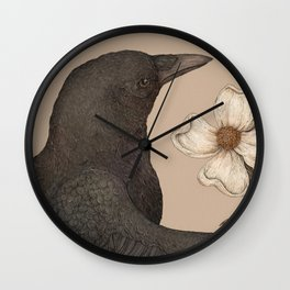 The Crow and Dogwoods Wall Clock