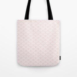Elegant chic blush pink white scallop wave pattern Tote Bag