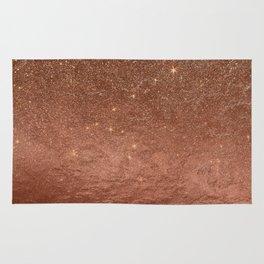 Elegant modern fax rose gold glitter Rug