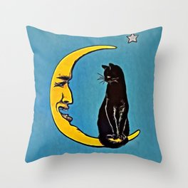 Black Cat & Moon Throw Pillow