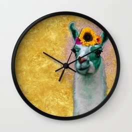Flower Power Llama Wall Clock