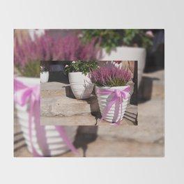 Blooming Calluna vulgaris or heather Throw Blanket