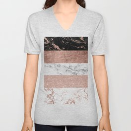 Modern chic color block rose gold marble stripes pattern Unisex V-Neck