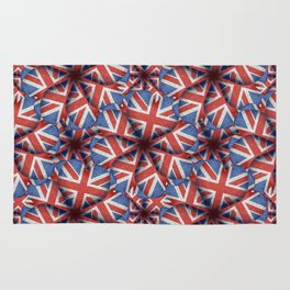 Heart Shaped England Flag Pattern Design Rug