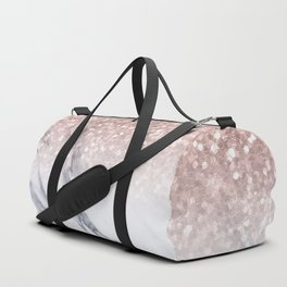 She Sparkles Rose Gold Marble Luxe Duffle Bag