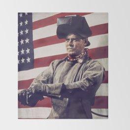 Patriotic Vintage Welder Throw Blanket