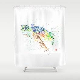 Sea Turtle Colorful Watercolor Painting Shower Curtain