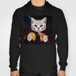 Space Cat with taco and pizza Hoody