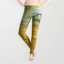 "Vincent van Gogh ""Wheat Field behind Saint Paul Hospital with a Reaper"" Leggings"