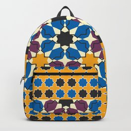 Moroccan seamless pattern, Morocco. Patchwork mosaic with traditional folk geometric ornament Backpack