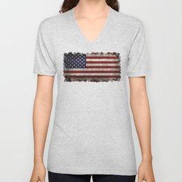 American Flag, Old Glory in dark worn grunge Unisex V-Neck