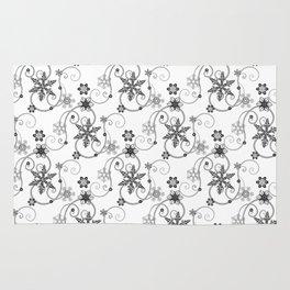 Snowflakes (Black) Rug