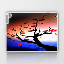Japanese Maple Under Night Sky With Moon Laptop & iPad Skin