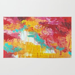 AUTUMN SKIES - Amazing Fall Colors Thunder Storm Rainy Sky Clouds Bold Colorful Abstract Painting Rug