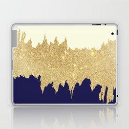 Navy blue ivory faux gold glitter brushstrokes Laptop & iPad Skin