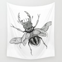 Dotwork Flying Beetle Illustration Wall Tapestry