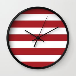 Rambutan Red - solid color - white stripes pattern Wall Clock