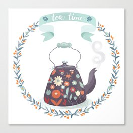 Tea Time Floral Tea Kettle Canvas Print