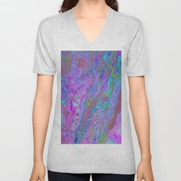 Pink Turquoise Pour Unisex V-Neck