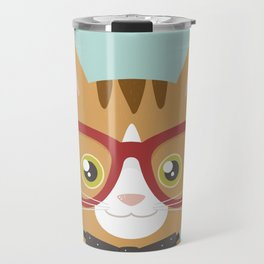 Orange Tabby Hipster Cat Travel Mug