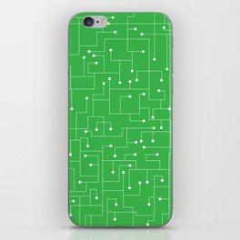 Cartoon Circuit Board Green and White iPhone Skin