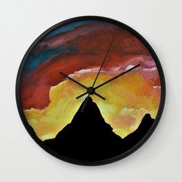 Everest Silhouette - Abstract Sky Oil Painting Wall Clock