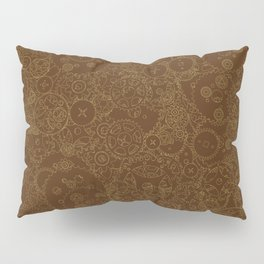 Clockwork Retro / Cogs and clockwork parts lineart pattern in brown and gold Pillow Sham