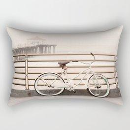 Bicycle at Manhattan Beach Pier, Riding Bikes at the Beach, Beach Art Print, California Summer Rectangular Pillow
