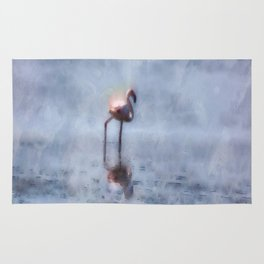 Solitary Flamingo Watercolor Rug