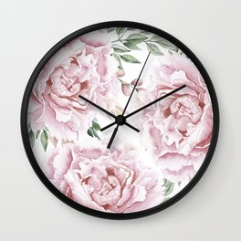 Pretty Pink Roses Floral Garden Wall Clock
