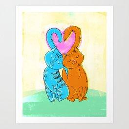 Tails of love Art Print