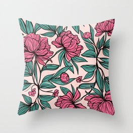 Sketchy Flowers Throw Pillow
