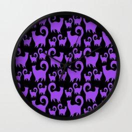Purple Snobby Cats Wall Clock