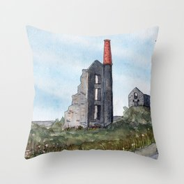 Cornish Tin Mine Throw Pillow