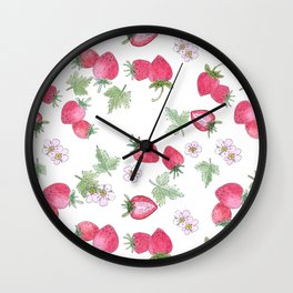 Watercolor . Strawberry on a White background . Wall Clock