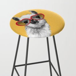 Fashion Hipster Llama with Glasses Bar Stool