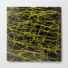 Black with yellow scribbling lines, happy yellow art, less is more Metal Print