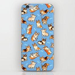 Jolly corgis in blue iPhone Skin