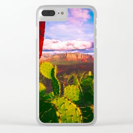Cacti with a View (Cathedral Rock) Clear iPhone Case