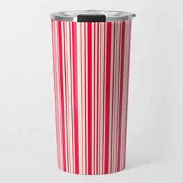 American Rose and Antique White Stripes Travel Mug