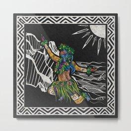 Polynesian Hula Dancer Tapa Print Metal Print