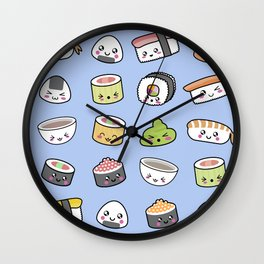 Happy kawaii sushi pattern Wall Clock